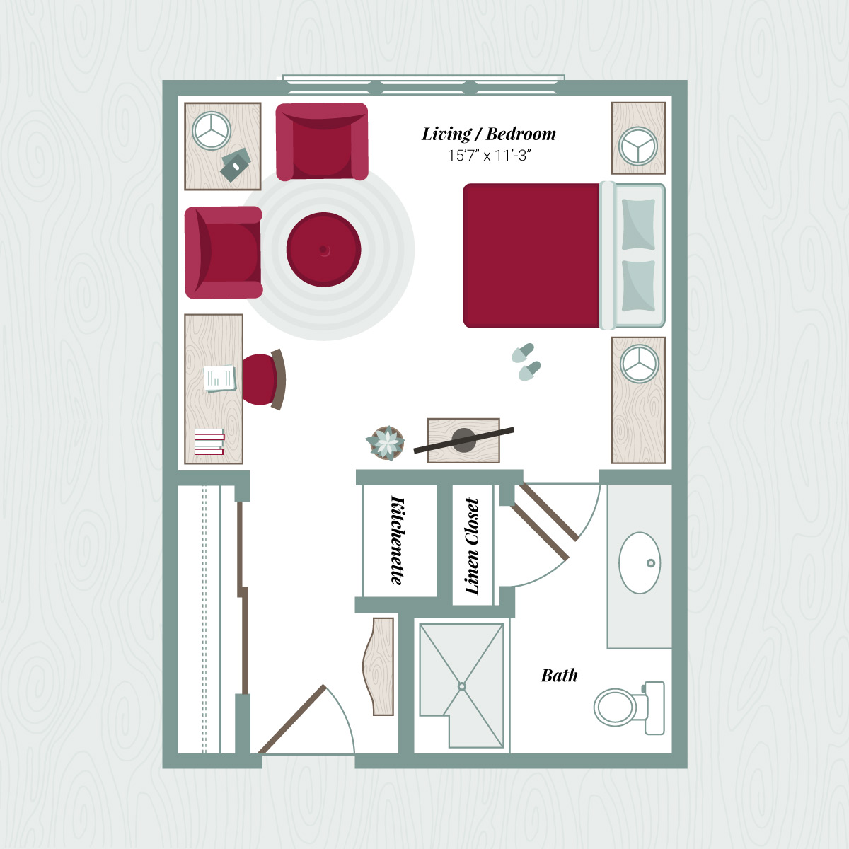 Floor Plan B - Large Studio Apartment