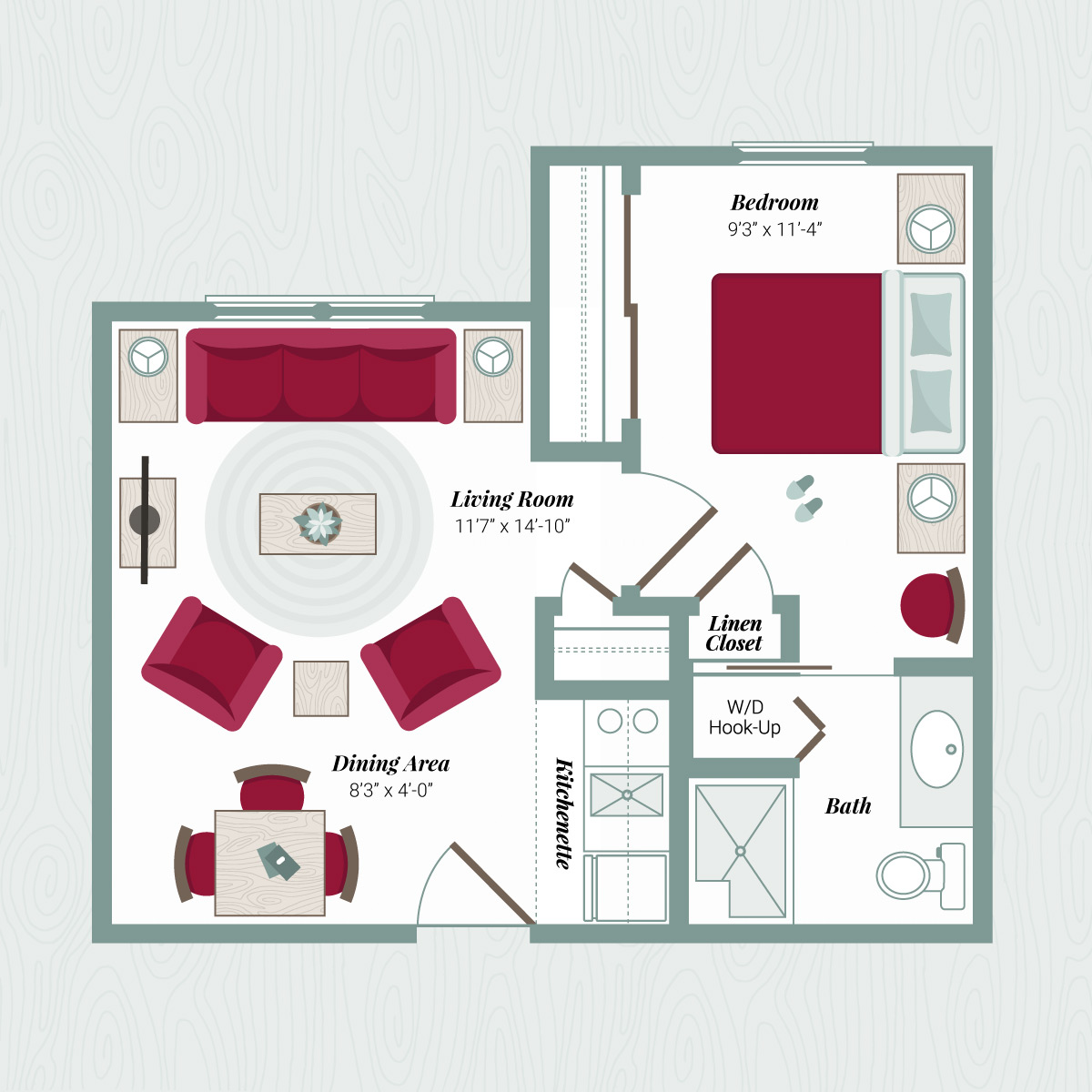 Floor Plan D - 1 Bedroom Apartment