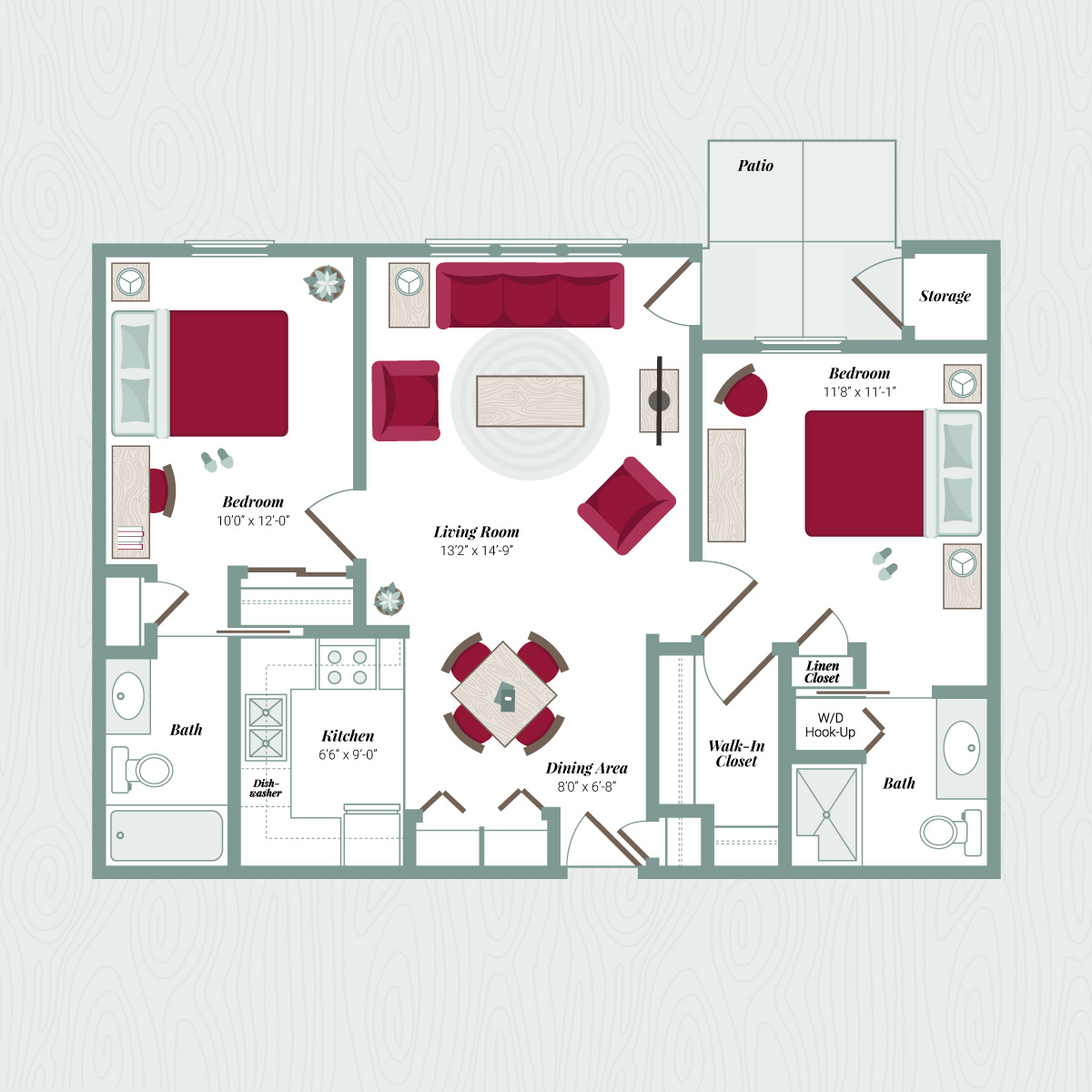 Floor Plan F - 2 Bedroom Apartment